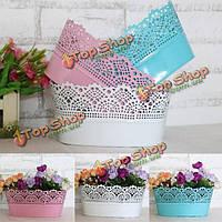 В сельском стиле чистого цвета железный лист полый цветочный горшок украшения домашнего цветника ванна