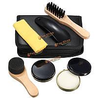 6в1 черный нейтральный блеск для чистки обуви польский комплект щеток комплект withl кейс