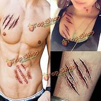 2шт Хэллоуин зомби шрамы татуировки поддельные парша кровавый макияж ужас раны страшно крови наклейку травмы