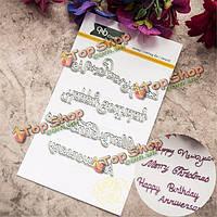4шт поздравление Плашки трафарета комплект для тиснения бумаги карточки скрапбукинга ремесло