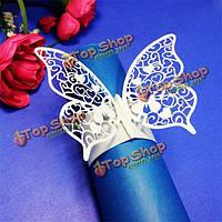 Лазерная резка бабочка формы кольца для салфеток для обедов обеда столы домашнего свадебного декора anniversray партии