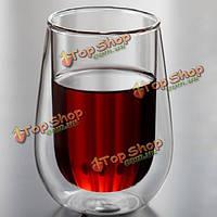 250мл Clear двойной слой стены стеклянный журнальный чашка чая чашка питьевой воды