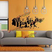 58смx126см лес подарок палевый олень стикер стены этикета стены комнаты домашний декор стены искусства