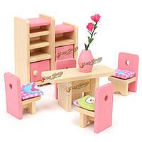 Деревянные куклы набор детских игрушек миниатюрный дом семьи мебель комплект аксессуары