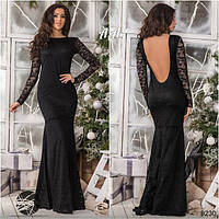 Платье в пол с открытой спиной гипюр