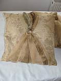 Комплект подушок 2шт,40х40 беж з бантиком, фото 2