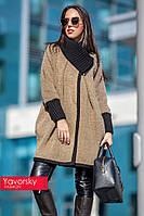 Трикотажное пальто с довязкой
