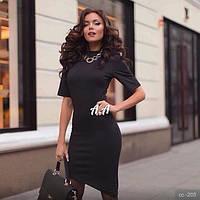 Платье женское короткое, ткань дайвинг, цвет черный, электрик , длина 110 см аа № 403