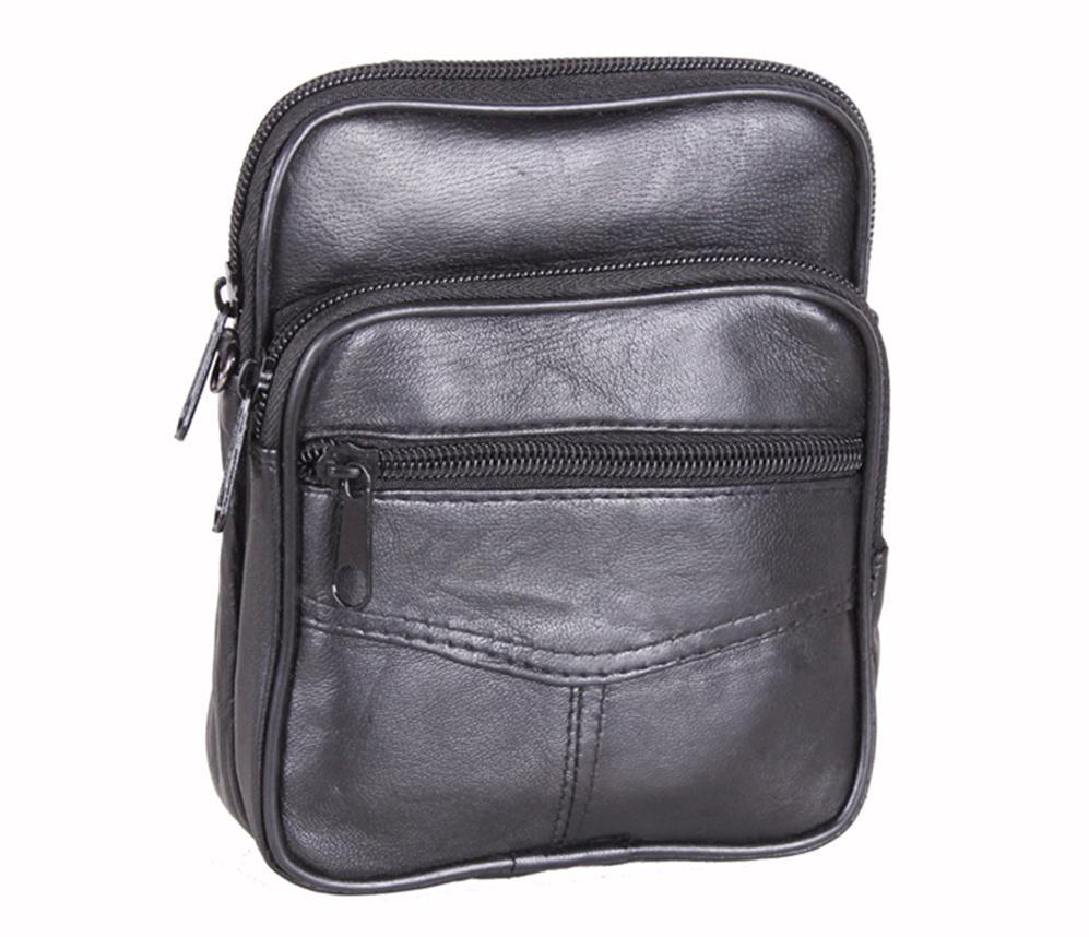Мужская кожаная сумка 303702 черная
