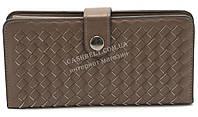 Плетеный удобный женский кошелек с кожи PU FUERDANNI art. P948-3 плетенка коричневого цвета, фото 1