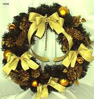 Венок новогодний декорированный 50 см