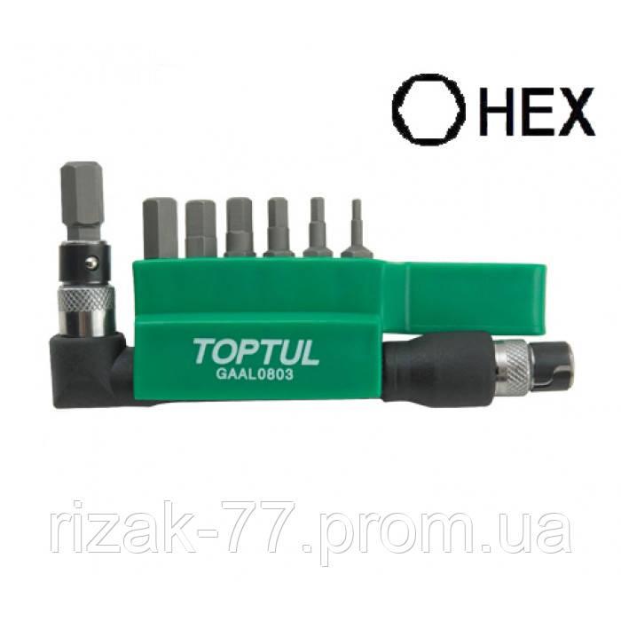 "Набор бит 1/4"" HEX 2-8мм + Г-обр.переходник. 8ед. TOPTUL GAAL0803 ТОРТUL"