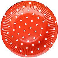Тарелки бумажные красные в горошек 10шт.