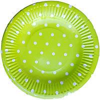 Тарелки бумажные зеленые в горошек 10шт.
