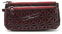 Стильный оригинальный женский блестящий кошелек барсетка BALYA art. 634-5 бордовый
