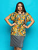 Женское платье-туника свободного кроя, большие размеры 9074