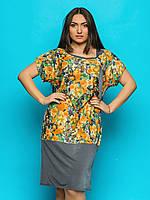 Женское платье-туника свободного кроя, большие размеры 9074, фото 1