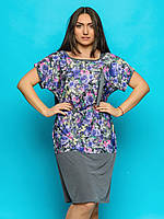 Женское платье-туника свободного кроя, большие размеры 9074/1, фото 1