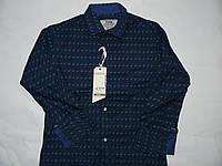 Рубашка синяя приталенная для мальчиков  146-170