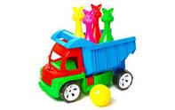 """Детский грузовик""""Алекс""""с кеглями-зайцы,в сетке,38х22х25см."""