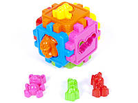Детский логический куб-сортер,с животными,в пакете,10х10см.