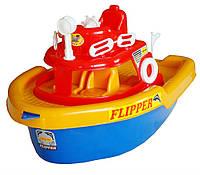 Детский катер на колёсах для воды и суши,43х25х25см.