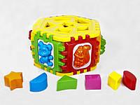 Детский логический шестигранник-сортер,с геометрическими фигурами и животными,в сетке,24х24х14см.