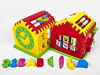 Детский логический дом-сортер,с часами и счетами,в сетке,24х20х18см.