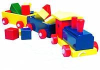 Паравоз цветной, 2 вагона с кубиками Деревянные развивающие игрушки