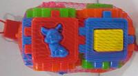 Деский логический куб-сортер,2 в 1,с геометрическими фигурами и животными,в сетке,20х10х10см.