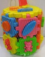 Детский сортер-шестигранник,2 в 1,с геометрическими фигурами и животными,в сетке,19х14х14см.