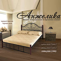 Кровать металлическая двуспальная Анжелика на деревянных ножках 1600х1900/2000 мм, Белый, бежевый, бордо, металлик, белый бархат