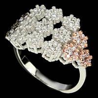 Циркон три цвета, серебро 925, кольцо
