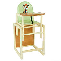 Деревянный детский стул для кормления зеленый Тигренок