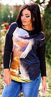 Трендовая женская туника свободного фасона с модным принтом рукав длинный турецкий дайвинг батал