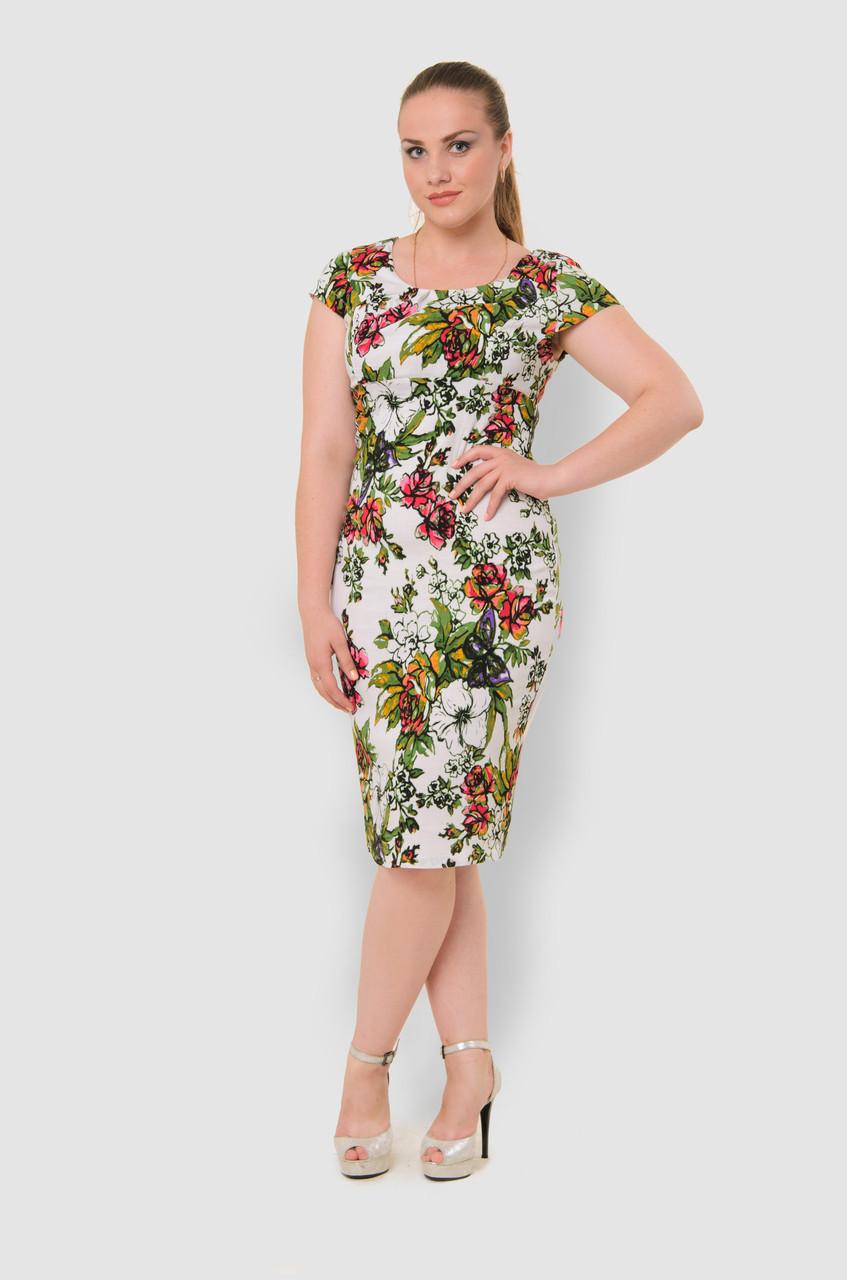 Льняное, легкое женское платье больших размеров прилегающего силуэта 15002/4, фото 1
