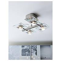 IKEA ФУГА Потолочный софит, 4 ламп, хромированный, прозрачное стекло : 40262622, 402.626.22