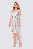 Льняное, легкое женское платье больших размеров прилегающего силуэта 15001