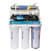 Осмос AquaKut с помпой, UV Лампа, 75G RO-6 А03 (1 ступень прозрачная колба,Filmtek,автопромывка)