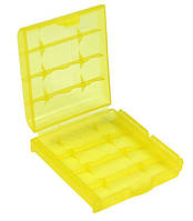 Бокс футляр чехол кейс для батареек АА-ААА-14500 и аккумуляторов (желтый) SKU0000249