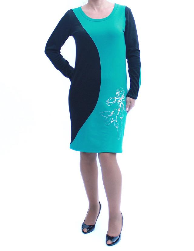 Платье со вставками цвета морской волны фото teens.ua