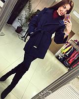 Стильное кашемировое короткое пальто с отложным воротником на поясе, темно синее