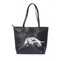 """Кожаная женская сумка-шоппер """"Кот"""""""