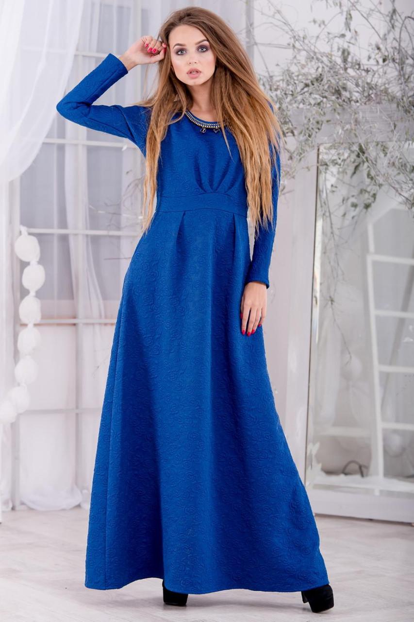 """Теплое длинное вечернее платье из жаккардового трикотажа """"фукра"""" с цветочным узором, р.L, код 2122М"""