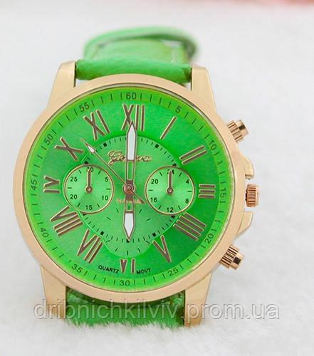 Стильные женские часы Geneva Platinum. Зеленый