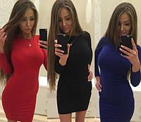 Женское Платье  короткое  р. 42,44,46 - синий, красный, черный