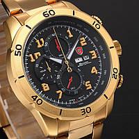 Мужские наручные часы Shark Mens 3D Black Gold Chronograph Stainless Steel Date Day Quartz Sport Watch SH314, фото 1