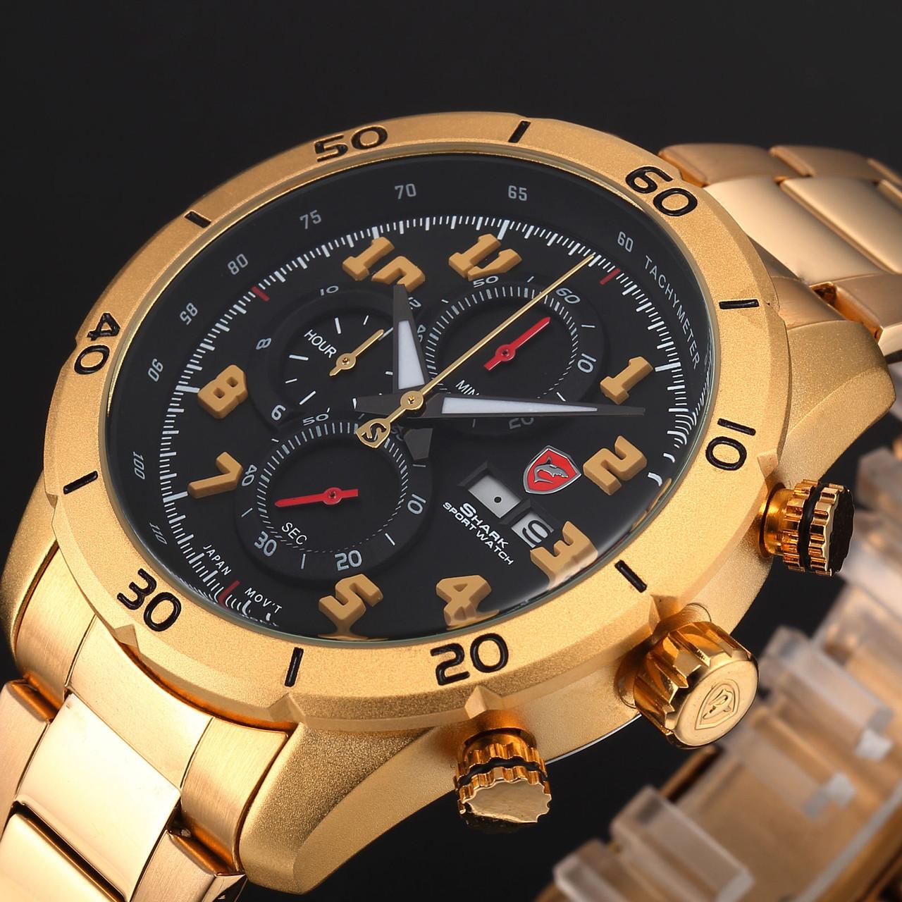 Мужские наручные часы Shark Black Gold Chronograph Stainless Steel Date Day Quartz Sport Watch SH314
