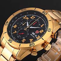 Мужские наручные часы Shark Black Gold Chronograph Stainless Steel Date Day Quartz Sport Watch SH314, фото 1