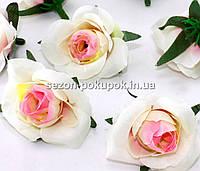 """Головы цветов """"Розочка"""" d=3,5см, цена за 10 шт, цвет бело-розовый"""